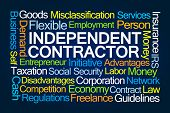 Independent Contractor Word Cloud on Blue Background poster