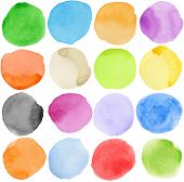 picture of paint brush  - Watercolor hand painted circle shape design elements - JPG