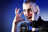 foto of skinheads  - Shot of a shouting skinhead man - JPG