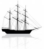 image of pirate ship  - Black old ship isolated on white background - JPG