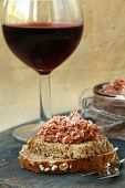 picture of canard  - pate of duck meat Rillettes de Canard  with a glass of wine - JPG