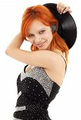 Happy Redhead With Vinyl Record