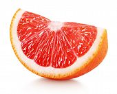 Wedge Of Pink Grapefruit Citrus Fruit Isolated On White poster