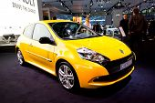 Moscow, Russia - August 25:  Yellow Car Renault Clio At Moscow International Exhibition Interauto On