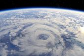 stock photo of hurricane wind  - Atmosphere the planet Earth from orbit 3d - JPG
