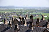 foto of william wallace  - View of old rooftops and countryside from Stirling Castle Scotland - JPG