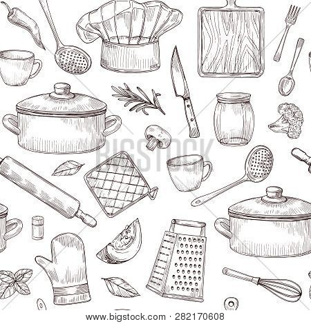 Kitchen Tools Seamless Pattern Sketch