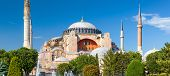 Hagia Sophia In Summer, Istanbul, Turkey. Ancient Hagia Sophia Or Aya Sofya Is A Top Landmark Of Ist poster