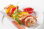 Meat skewer with pepper