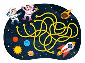 Maze Games Find The Path For Astronaut With Space And Spaceship Theme Collection. Illustration. Spac poster