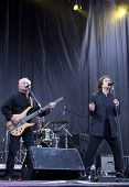 CLARK, NJ - SEPTEMBER 12: Bass player Jim Rodford and lead singer Colin Blunstone of the band The Zombies perform at the Union County Music Fest on September 12, 2010 in Clark, NJ.