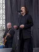 CLARK, NJ - SEPTEMBER 12: Lead singer Colin Blunstone and bass player Jim Rodford of The Zombies perform at the Union County Music Fest on September 12, 2010 in Clark, NJ.