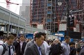 NEW YORK - MAY 2: Commuters exit from the World Trade Center PATH on May 2, 2011 in New York City. O