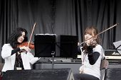 CLARK, NJ - SEPT 17: The string section for Nicole Atkins & The Black Sea perform at the Union Count