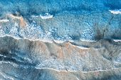 Aerial View Of A Transparent Blue Sea With Beautiful Waves At Sunny Evening In Summer. Tropical Aeri poster