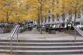 NEW YORK - NOV 17: An empty Zuccotti Park on the morning of the 'Day of Disruption' on November 17,