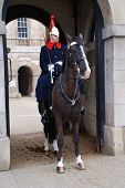 LONDON - MARCH 17: A mounted trooper of the Household Cavalry stands outside the entrance to the lis