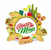 Cinco De Mayo Mexican Holiday Vector Greeting Card With Fiesta Party Sombrero, Maracas And Cactus. T poster