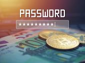 Password Input On Blurred Background Screen. Password Protection Against Hackers. poster