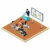 Business Training Or Presentation Isometric Vector Concept. Illustration Of Presentation Meeting And poster