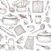 Kitchen Tools Seamless Pattern. Sketch Cooking Utensils Hand Drawn Kitchenware. Engraved Kitchen Ele poster