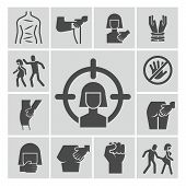 Stop Violence, Sexual Abuse, Harassment Vector Icons Set. Violence And Abuse, Harassment And Sexual  poster