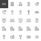 Taxi Service Line Icons Set. Linear Style Symbols Collection, Outline Signs Pack. Vector Graphics. S poster