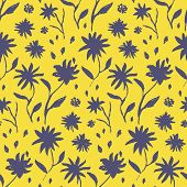 Contrast Yellow And Blue Seamless Pattern With Hand Drawn Inky Flowers And Leaves. Bright Chinese In poster