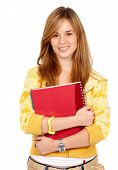 pic of teenage girl  - blond teenage student smiling and holding notebooks  - JPG