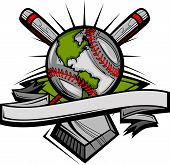 image of fastpitch  - Vector Template of Bats and a Baseball as Globe - JPG