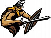 Viking Norseman Mascot Stabbing With Sword And Shield Vector Image