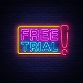 Free Trial Neon Text Vector. Free Trial Neon Sign, Design Template, Modern Trend Design, Night Neon  poster