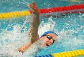 BARCELONA, SPAIN - JUNE 6: Spanish record woman and medalist swimmer Mireia Belmonte swims crawl sty