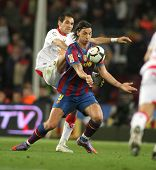 BARCELONA - MARCH 24: Zlatan Ibrahimovic of Barcelona in action during a Spanish League match betwee
