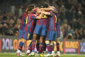 BARCELONA- APR 3: Players group of FC Barcelona celebrate goal during a Spanish League match between