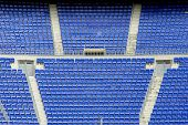 A field of empty seats on the stadium corner