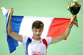 BARCELONA, SPAIN - JULY 28: Christophe Lemaitre of France celebrates victory on Men 100m Final of th