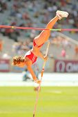 BARCELONA, SPAIN - JULY 28: Anna Katharina Schmid of Switzerland during Women Pole Vault of the 20th European Athletics Championships at the Olympic Stadium on July 28, 2010 in Barcelona, Spain