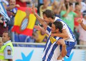 BARCELONA - AUGUST 29: Osvaldo and Verdu of Espanyol celebrating goal during a Spanish League match