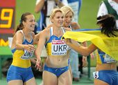BARCELONA, SPAIN - AUG 01: Povh, Pohrebnyak and Ryemyen of Ukraina celebrate gold on 4X100 Relay of the 20th European Athletics Championships at the Olympic Std. on August 1, 2010 in Barcelona, Spain