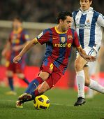 BARCELONA - DEC 12: Xavi Hernandez of Barcelona in action during a Spanish League match between FC B