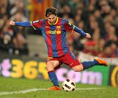 BARCELONA - FEB 20: Messi of Barcelona in action during the match between FC Barcelona and Athletic