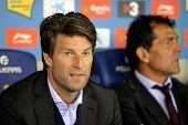 BARCELONA - MARCH 1: Michael Laudrup of Mallorca during the match between Espanyol and Real  Mallorc
