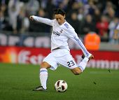 BARCELONA - FEB 13: Mesut Ozil of Real Madrid during a spanish league match between Espanyol and Rea