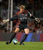 BARCELONA - AUG 22: Oliver Kahn of Bayern Munich during a friendly match between Bayern Munich and F