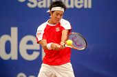 BARCELONA - APRIL 19: Japanese Kei Nishikori in action during the first round match of the Barcelona