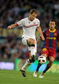 BARCELONA - APRIL 23: Krisztian Vadocz of Osasuna in action during the match between FC Barcelona an