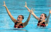 BARCELONA - JUNE 18: British synchro swimmers Jenna Randall(L) and Olivia Allison(R) in a Duet exerc