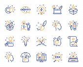 Creativity Brush Line Icons. Set Of Design, Idea And Inspiration Linear Icons. Imagination, Idea Box poster