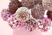 stock photo of cake pop  - delicious chocolate cake pops  - JPG